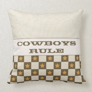 Brown Vintage Star Checkerboard Throw Pillow