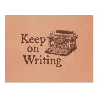 Brown Vintage Typewriter Keep on Writing Postcard