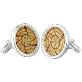 Brown vortex cuff links