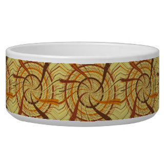 Brown vortex pet food bowls