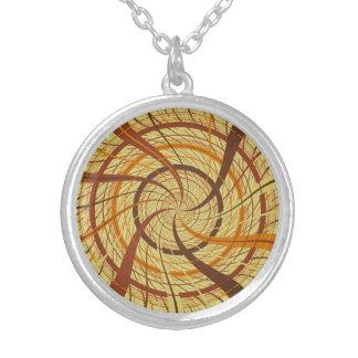 Brown vortex silver plated necklace