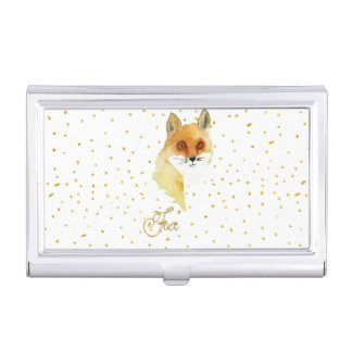 Brown watercolor fox gold faux glitter dots business card holder