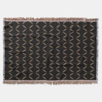 Brown Wave Motif accent Black Throw Blanket