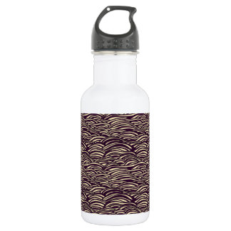 Brown waves pattern. Sea texture. 532 Ml Water Bottle