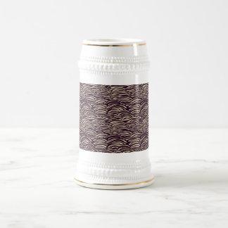 Brown waves pattern. Sea texture. Beer Stein