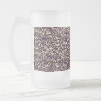 Brown waves pattern. Sea texture. Frosted Glass Beer Mug