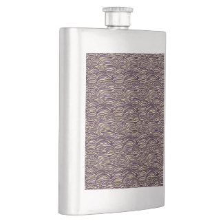 Brown waves pattern. Sea texture. Hip Flask