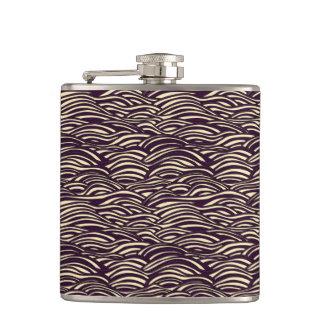Brown waves pattern. Sea texture. Hip Flask