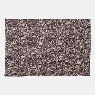 Brown waves pattern. Sea texture. Kitchen Towel