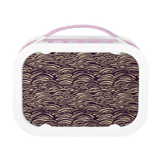Brown waves pattern. Sea texture. Lunch Box