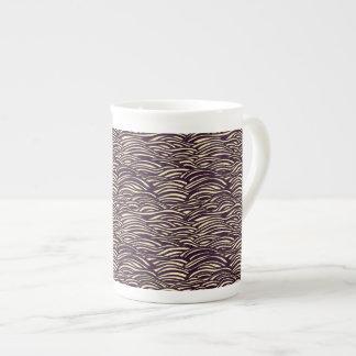 Brown waves pattern. Sea texture. Tea Cup