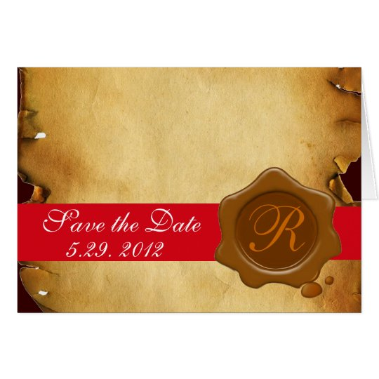 BROWN WAX SEAL MONOGRAM,  PARCHMENT CARD