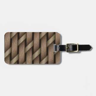 Brown weave from basket  textile luggage tag