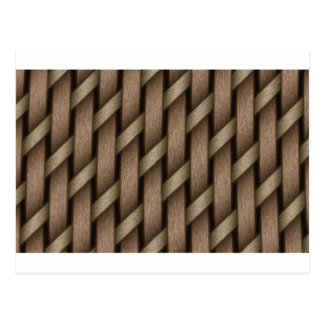 Brown weave from basket  textile postcard