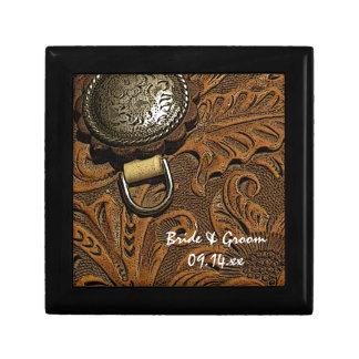 Brown Western Saddle Country Wedding Trinket Box