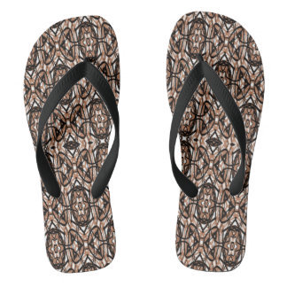 Brown, White and Black Spiral Mandala 2778 Flip Flops