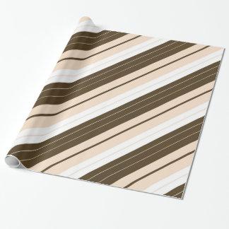 Brown, White, and Tan Diagonal Striped Gift Wrap