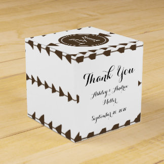 Brown White Aztec Arrows Monogram Wedding Favor Box
