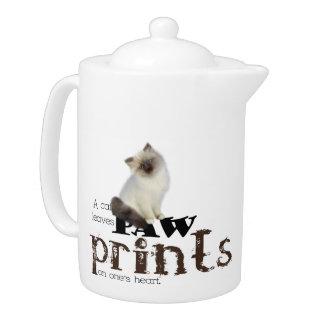 Brown/White Birman Cat Teapot
