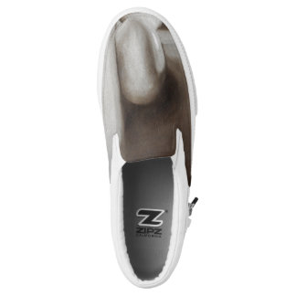 Brown White Earth Tone Still Life Slip on Sneakers