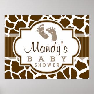 Brown, White Giraffe Animal Print Baby Shower