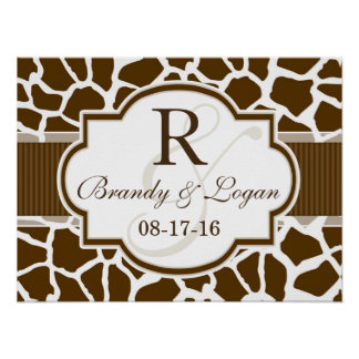 Brown, White Giraffe Animal Print Wedding