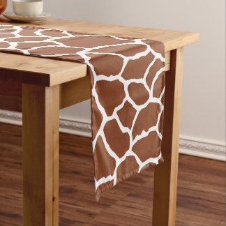 Brown White Giraffe Skin Pattern Short Table Runner