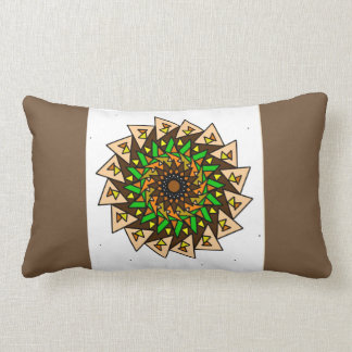 Brown White Green Geometric Star Pillow