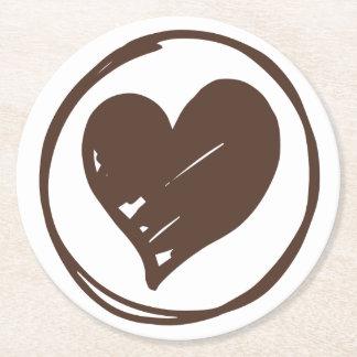 Brown & White Heart - Love, Wedding, Bridal Shower Round Paper Coaster