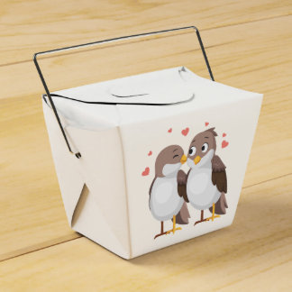 Brown & White Lovebirds Wedding, Bridal Shower Favor Box