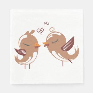Brown & White Lovebirds Wedding, Bridal Shower Paper Napkin