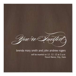 Brown White Modern Wedding Invitation