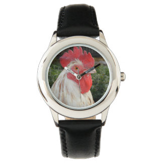 Brown White Rooster Face, Kids Leather Watch. Watch