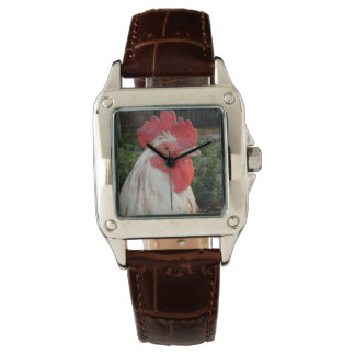 Brown White Rooster Face, Ladies LeatherWatch Watch