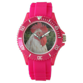 Brown White Rooster Face, Ladies Sports Watch. Watch