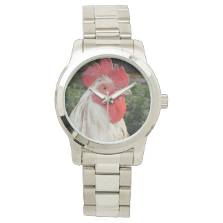 Brown White Rooster Face, Large Unisex Watch. Watch