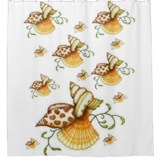 brown white shells sea showercurtain ocean