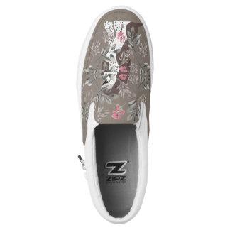 Brown/White Springer Spaniel with Flower Field Slip-On Sneakers