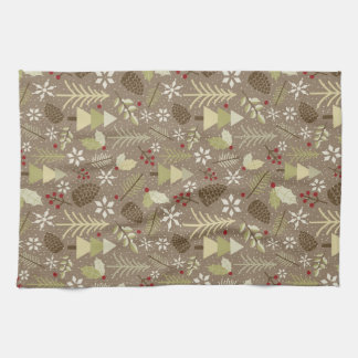 Brown Winter - Holiday Illustrated Pattern Kitchen Towel