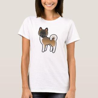 Brown With Black Mask Akita Dog Cartoon Drawing T-Shirt