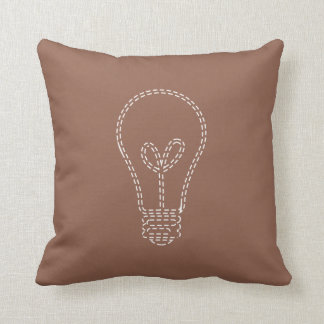 Brown with Lightbulb Throw Pillow