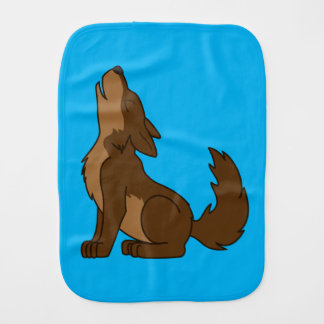 Brown Wolf Pup Howling Burp Cloth