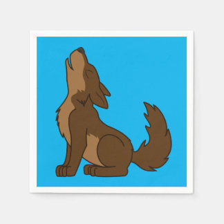 Brown Wolf Pup Howling Disposable Napkins