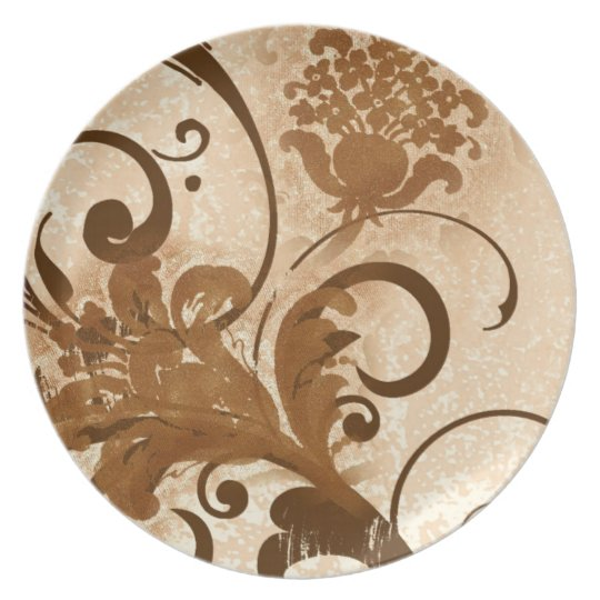 Brown wood carved flower swirls plate