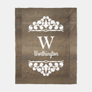 Brown Wood Country White Scrolls Personalized Fleece Blanket