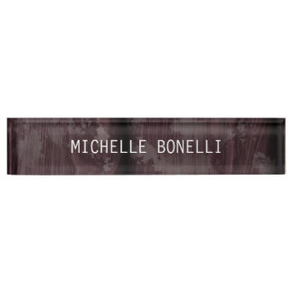 Brown Wood Design Background Plain Legible Modern Name Plate