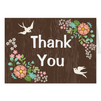 Brown Wood Floral Thank You Country Wedding Doves Card