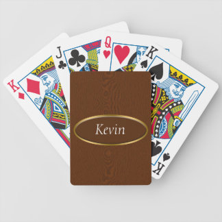 Brown Wood Grain Monogram Bicycle Playing Cards