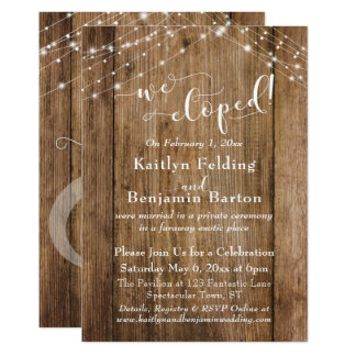 Brown Wood Lights We Eloped Typography, Reception Card