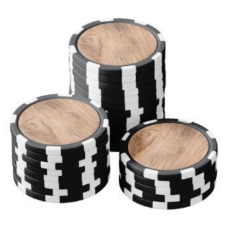 Brown wood pattern poker chip set